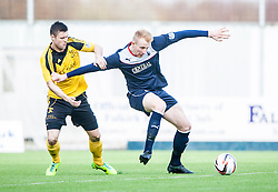 Livingston Calum Fordyce and Falkirk's Mark Beck.<br /> Falkirk 1 v 1 Livingston, Scottish Championship game today at The Falkirk Stadium.<br /> &copy; Michael Schofield.