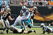 Jonathan Stewart(28) jumps defenders in the New Orleans Saints 34 to 13 victory over the Carolina Panthers.