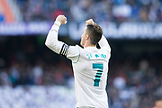 Real Madrid's Portuguese forward Cristiano Ronaldo celebrates after scoring his second goal during the Spanish championship Liga football match between Real Madrid and Alaves on february 24, 2018 at Santiago Bernabeu Stadium in Madrid, Spain - Photo Rudy / Spain ProSportsImages / DPPI / ProSportsImages / DPPI