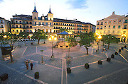 SPAIN, CASTILE, SEGOVIA Plaza Mayor; City Hall, band shell
