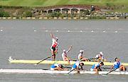 Chungju, South Korea.  NED M4- . celebrate after winning the A Final Men's Four. Bow. Boaz MEYLINK (b) , Kaj HENDRIKS (2) , Mechiel VERSLUIS (3) , Robert LUECKEN (s)  2013 FISA World Rowing Championships, Tangeum Lake International Regatta Course.16:11:38  Saturday  31/08/2013 [Mandatory Credit. Peter Spurrier/Intersport Images]