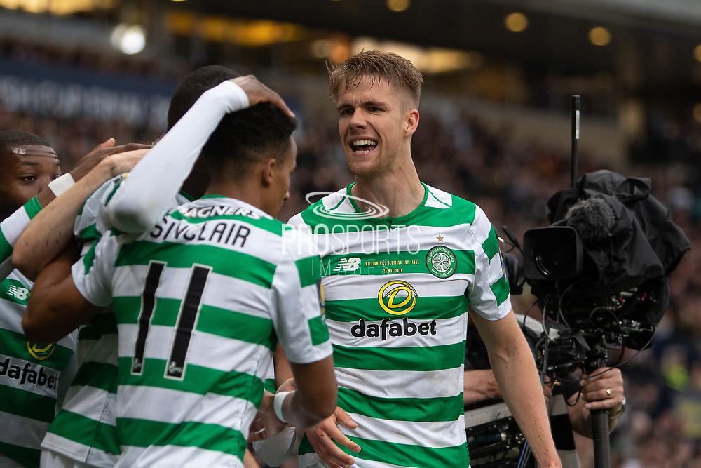 Odsonne Edouard is congratulated by Kristoffer Ajer the William Hill Scottish Cup Final match between Heart of Midlothian and Celtic at Hampden Park, Glasgow, United Kingdom on 25 May 2019.