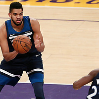 25 December 2017: Minnesota Timberwolves center Karl-Anthony Towns (32) passes the ball to Minnesota Timberwolves forward Andrew Wiggins (22) during the Minnesota Timberwolves 121-104 victory over the LA Lakers, at the Staples Center, Los Angeles, California, USA.