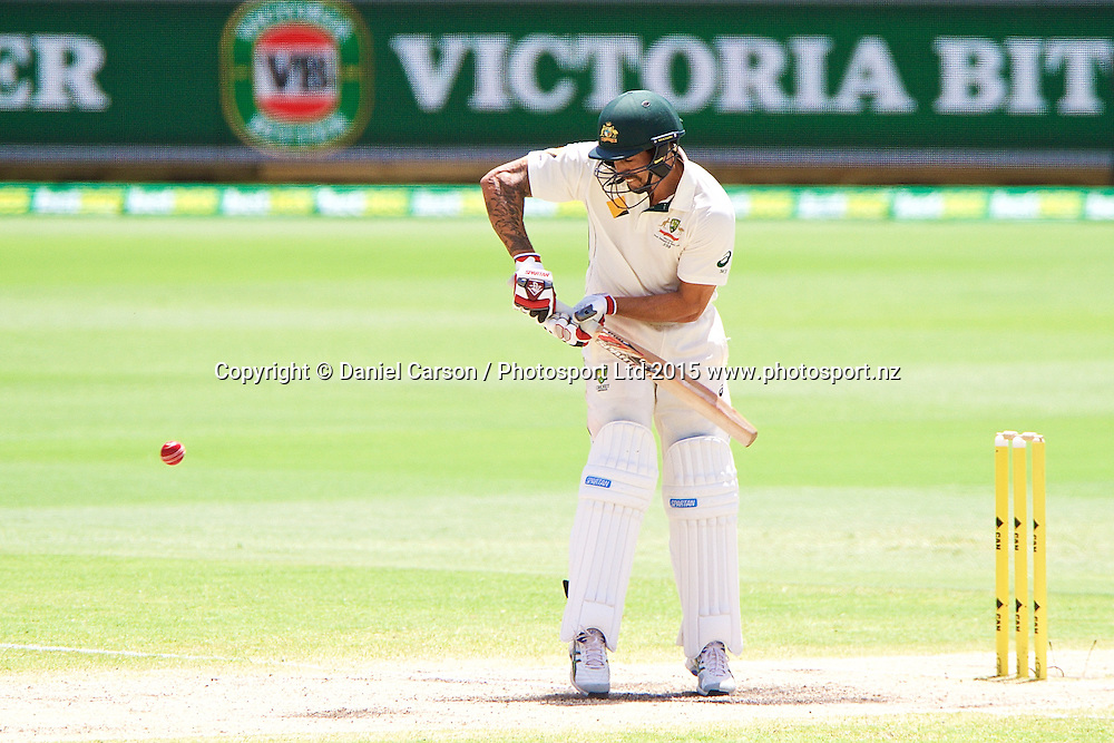Mitchell Johnson of Australia plays a straight bat during Day 5 on the 17th of November 2015. The New Zealand Black Caps tour of Australia, 2nd test at the WACA ground in Perth, 13 - 17th of November 2015.   Photo: Daniel Carson / www.photosport.nz
