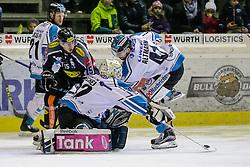 17.01.2016, Messestadion, Dornbirn, AUT, EBEL, Dornbirner Eishockey Club vs EHC Liwest Black Wings Linz, 44. Runde, im Bild v.l. Philipp Lukas, (EHC Liwest Black Wings Linz, #21), Chris D'Alvise, (Dornbirner Eishockey Club, #15), Thomas Dechel, (EHC Liwest Black Wings Linz, #92) und Mario Altmann, (EHC Liwest Black Wings Linz, #41)// during the Erste Bank Icehockey League 44th round match between Dornbirner Eishockey Club and EHC Liwest Black Wings Linz at the Messestadion in Dornbirn, Austria on 2016/01/17, EXPA Pictures © 2016, PhotoCredit: EXPA/ Peter Rinderer