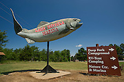 Stock photography of the a fish sign at Lake Eufaula State Park and Marina in Eufaula, Oklahoma.