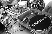 Record decks, Exodus Free Festival, Luton, 1997.