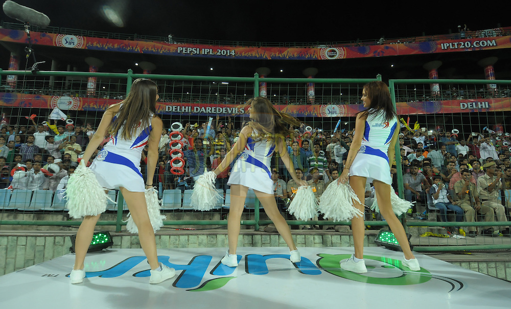 Delhi Daredevils cheerleaders performed during match 23 of the Pepsi Indian Premier League Season 2014 between the Delhi Daredevils and the Rajasthan Royals held at the Feroze Shah Kotla cricket stadium, Delhi, India on the 3rd May  2014<br /> <br /> Photo by Arjun Panwar / IPL / SPORTZPICS<br /> <br /> <br /> <br /> Image use subject to terms and conditions which can be found here:  http://sportzpics.photoshelter.com/gallery/Pepsi-IPL-Image-terms-and-conditions/G00004VW1IVJ.gB0/C0000TScjhBM6ikg