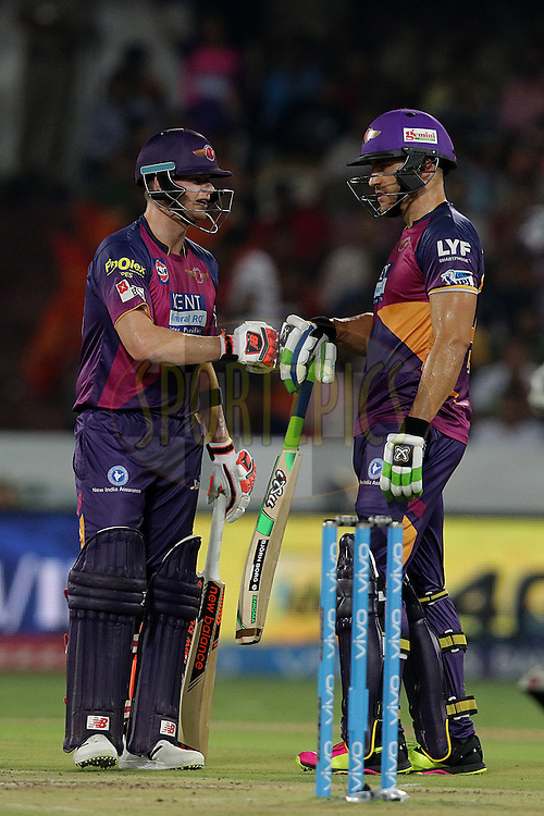 Steven Smith of Rising Pune Supergiants and Faf du Plesis of Rising Pune Supergiants  during match 22 of the Vivo IPL 2016 (Indian Premier League ) between the Sunrisers Hyderabad and the Rising Pune Supergiants held at the Rajiv Gandhi Intl. Cricket Stadium, Hyderabad on the 26th April 2016<br /> <br /> Photo by Rahul Gulati / IPL/ SPORTZPICS