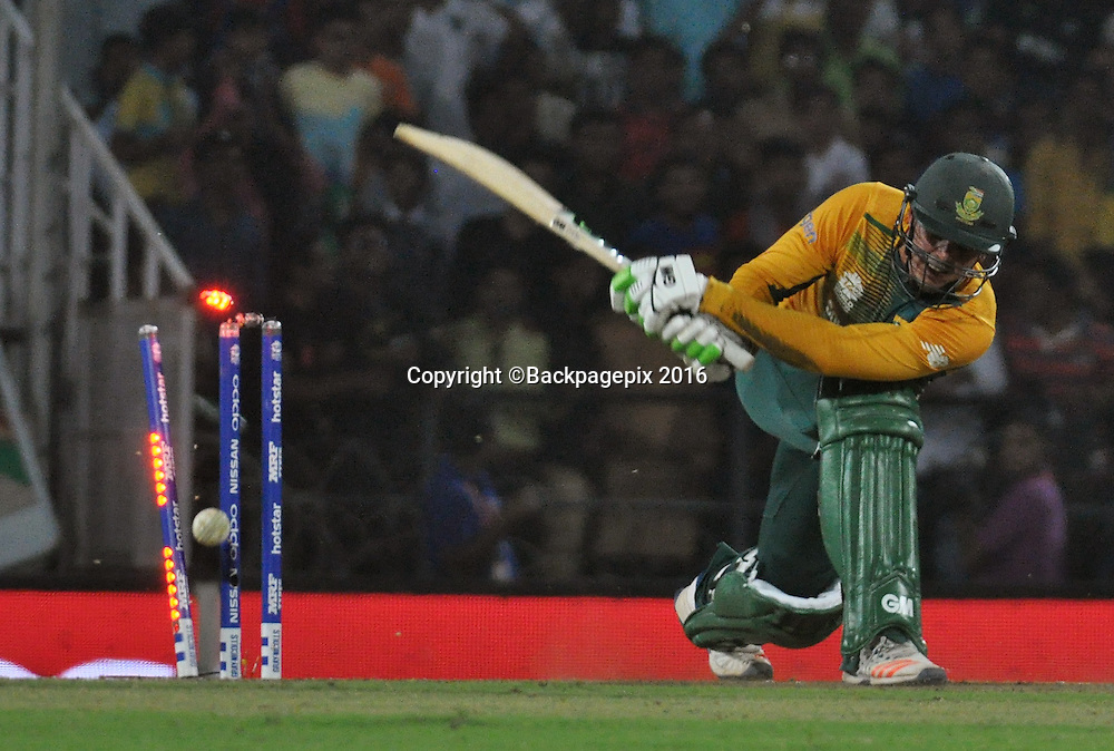 Quinton De Kock of South Africa bowled by Andre Russell of West Indies not in the picture during the 2016 ICC World T20 cricket match between South Africa and West Indies at Vidharbha Cricket Association, Jamtha, India on 25 March 2016 ©BackpagePix