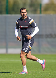 NEWPORT, WALES - Tuesday, October 7, 2014: Wales' Hal Robson-Kanu training at Dragon Park National Football Development Centre ahead of the UEFA Euro 2016 qualifying match against Bosnia and Herzegovina. (Pic by David Rawcliffe/Propaganda)