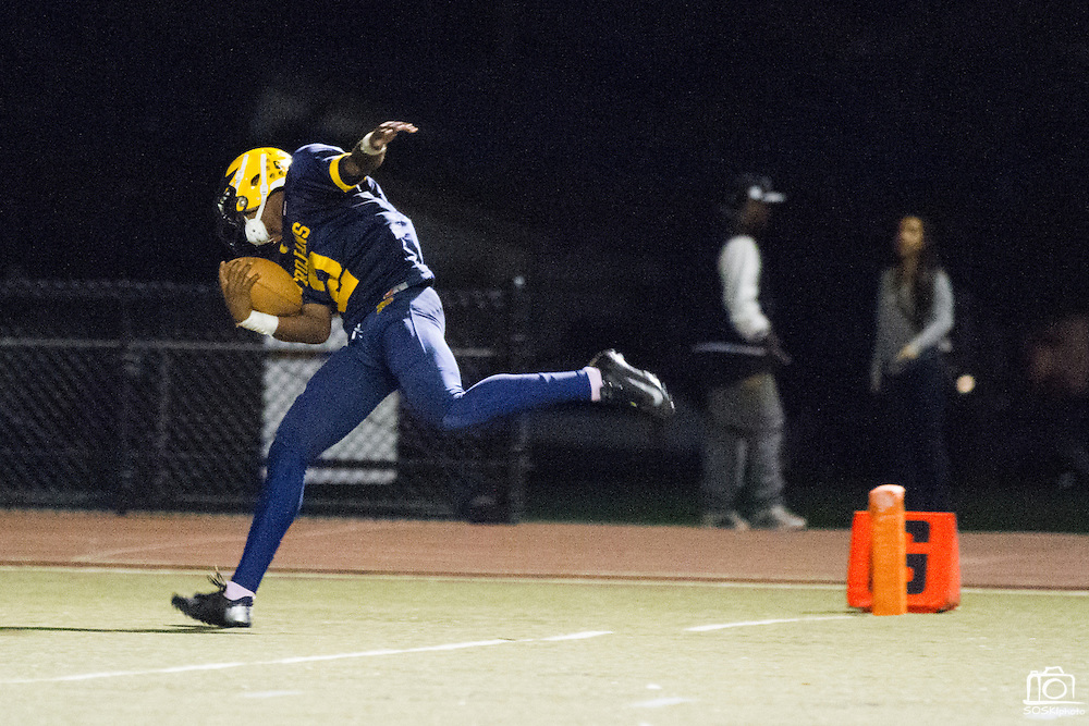 Milpitas High School junior, Tre Hartley (2), rushes into the end zone during the third quarter of the Oct. 5, 2012 home game against Mountain View.  The Trojans would go on to win 42-7.  Photo by Stan Olszewski/SOSKIphoto.