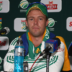 AB de Villiers during the Castle Lager Proteas squad which came together in Durban on Saturday December 24, in preparation for the second Sunfoil Test Match starting at Sahara Stadium Kingsmead on the Day of Goodwill (December 26). The squad had a practice session at Sahara Stadium Kingsmead<br /> <br /> <br /> Photography: Steve Haag