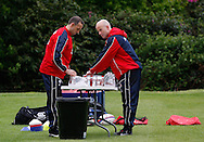 Picture by Andrew Tobin/Tobinators Ltd +44 7710 761829.24/05/2013.England assistants get Maxi Muscle Maxi-Milk protein drinks ready during the England training session at Pennyhill Park, Bagshot ahead of the match against the Barbarians on 26th May 2013.