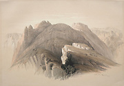 Gebil Hor. Mount Hor, from the Cliffs Encircling Petra 1839 Color lithograph by David Roberts (1796-1864). An engraving reprint by Louis Haghe was published in a the book 'The Holy Land, Syria, Idumea, Arabia, Egypt and Nubia. in 1855 by D. Appleton & Co., 346 & 348 Broadway in New York.