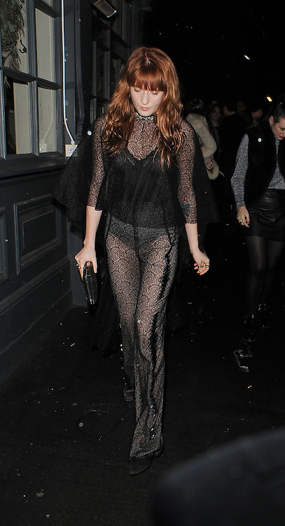 Florence Welch arrives at the Love Magazine Christmas party in London. UK. 17/12/2013<br />