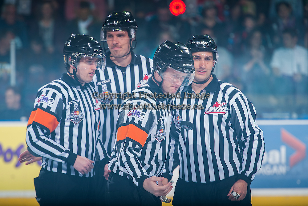 KELOWNA, CANADA - MAY 13: Referees and linesman on May 13, 2015 during game 4 of the WHL final series at Prospera Place in Kelowna, British Columbia, Canada.  (Photo by Marissa Baecker/Shoot the Breeze)  *** Local Caption ***