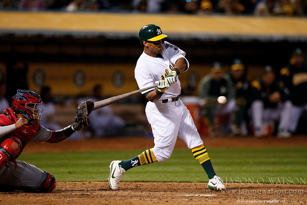 OAKLAND, CA - APRIL 04:  Khris Davis #2 of the Oakland Athletics at bat against the Los Angeles Angels of Anaheim during the seventh inning at the Oakland Coliseum on April 4, 2017 in Oakland, California. The Los Angeles Angels of Anaheim defeated the Oakland Athletics 7-6. (Photo by Jason O. Watson/Getty Images) *** Local Caption *** Khris Davis