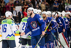 Ales Music of Slovenia and Sacha Treille of France after the 2017 IIHF Men's World Championship group B Ice hockey match between National Teams of France and Slovenia, on May 15, 2017 in AccorHotels Arena in Paris, France. Photo by Vid Ponikvar / Sportida