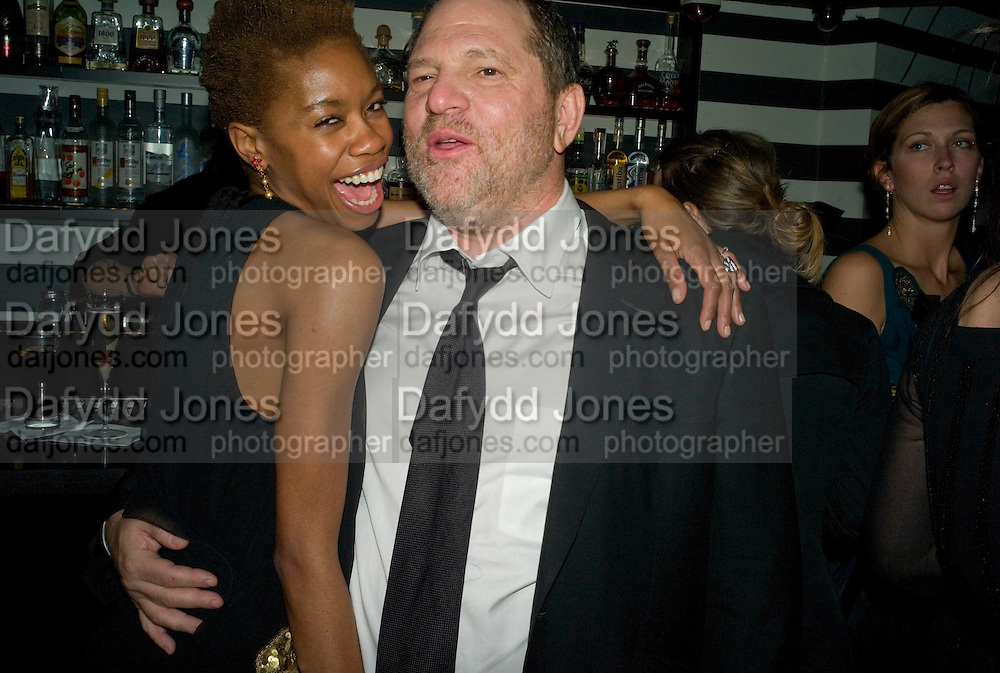 Tallulah Adeyemi and Harvey Weinstein, Weinstein Bafta after-party in association with Chopard. Bungalow 8. London. 10  February 2008.  *** Local Caption *** -DO NOT ARCHIVE-© Copyright Photograph by Dafydd Jones. 248 Clapham Rd. London SW9 0PZ. Tel 0207 820 0771. www.dafjones.com.