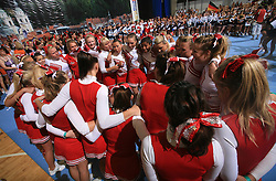 Viqueens Spirit, Norway (2nd place in category Cheer all female - Senior) waiting at final ceremony at second day of European Cheerleading Championship 2008, on July 6, 2008, in Arena Tivoli, Ljubljana, Slovenia. (Photo by Vid Ponikvar / Sportal Images).