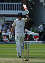July 6, 2017 - London, England, United Kingdom - England's Joe Root celebrates his Half Century.during 1st Investec Test Match between England and South Africa at Lord's Cricket Ground in London on July 06, 2017  (Credit Image: © Kieran Galvin/NurPhoto via ZUMA Press)