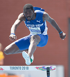 August 12, 2018 - Toronto, ON, U.S. - TORONTO, ON - AUGUST 12: Kyron McMaster (British Virgin Islands), gold 400m hurdles at the 2018 North America, Central America, and Caribbean Athletics Association (NACAC) Track and Field Championships on August 12, 2018 held at Varsity Stadium, Toronto, Canada. (Photo by Sean Burges / Icon Sportswire) (Credit Image: © Sean Burges/Icon SMI via ZUMA Press)