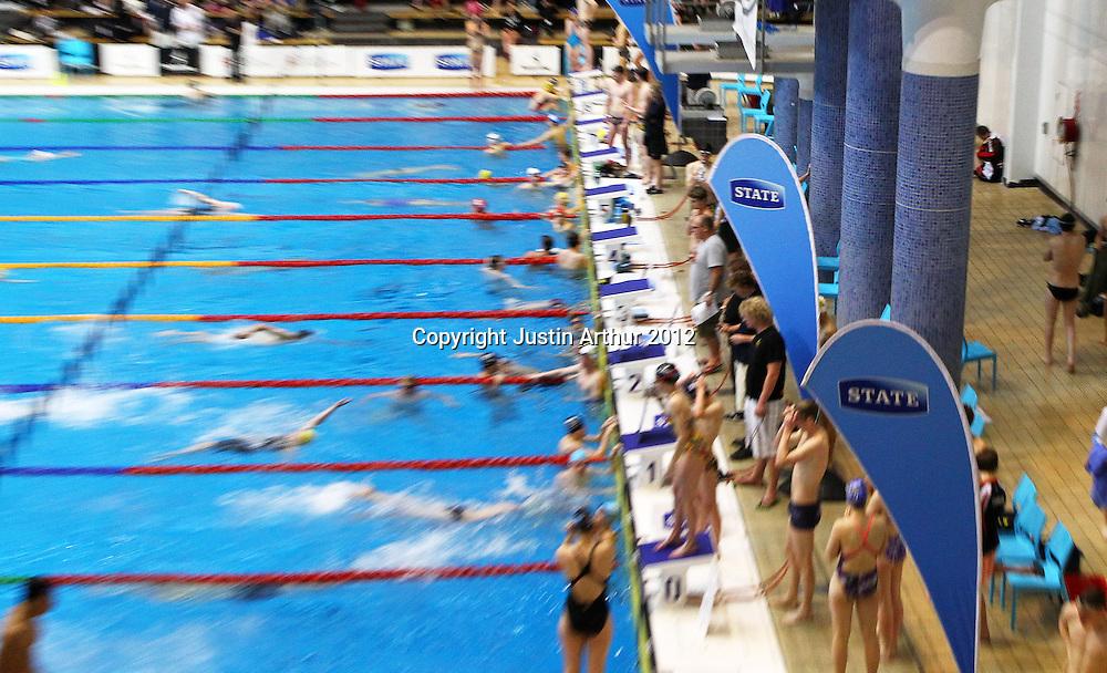 State signage at the 2012 New Zealand Short Course Swimming Championships, Day 3, Wellington Aquatics Centre, Kilbirnie, Wellington on Tuesday 2 October 2012. Photo: Justin Arthur / photosport.co.nz