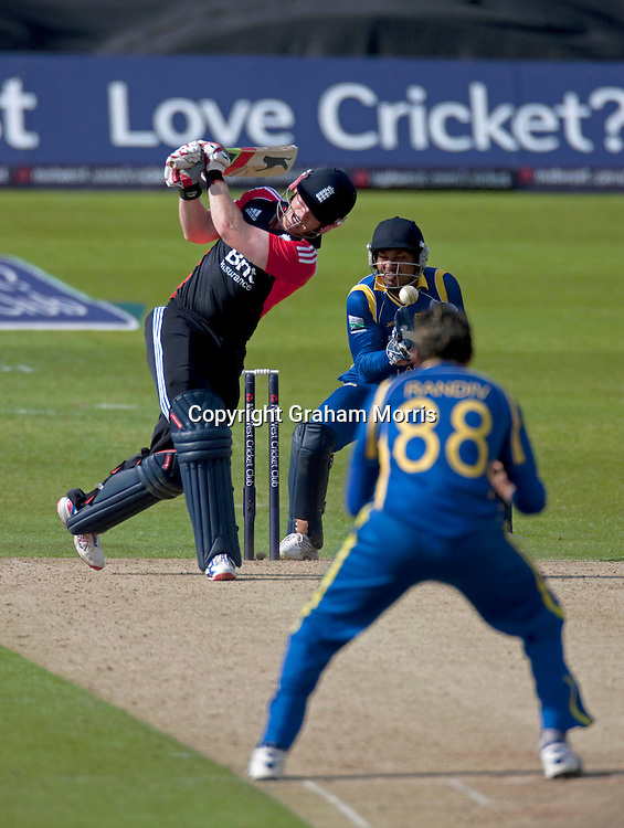 Kumar Sangakkara about to stump Eoin Morgan during the second one day international between England and Sri Lanka at Headingley, Leeds. Photo: Graham Morris (Tel: +44(0)20 8969 4192 Email: sales@cricketpix.com) 01/07/11