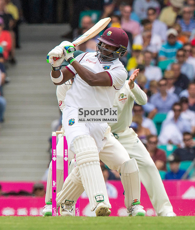3rd Test Match 2015-16 Day 1, Australia v West Indies, Sydney Cricket Ground; 3 January 2016<br /> West Indian Darren Bravo scores another boundary from the bowling of Australian Nathan Lyon