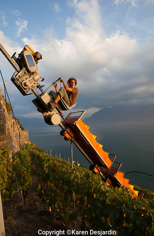 A monorail system is used to carry wine grapes up from the vineyards in the Lavaux wine country of Switzerland, above Lake Geneva.  The Lavaux wine region is classified as a UNESCO World Heritage Site. http://www.gettyimages.com/detail/news-photo/man-drives-a-load-of-wine-grapes-up-over-a-steep-cliff-in-news-photo/516604363