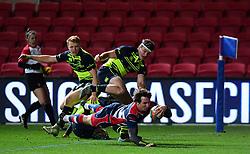 Rhodri Williams of Bristol Rugby scores  - Mandatory by-line: Alex Davidson/JMP - 08/12/2017 - RUGBY - Ashton Gate Stadium - Bristol, England - Bristol Rugby v Leinster 'A' - B&I Cup