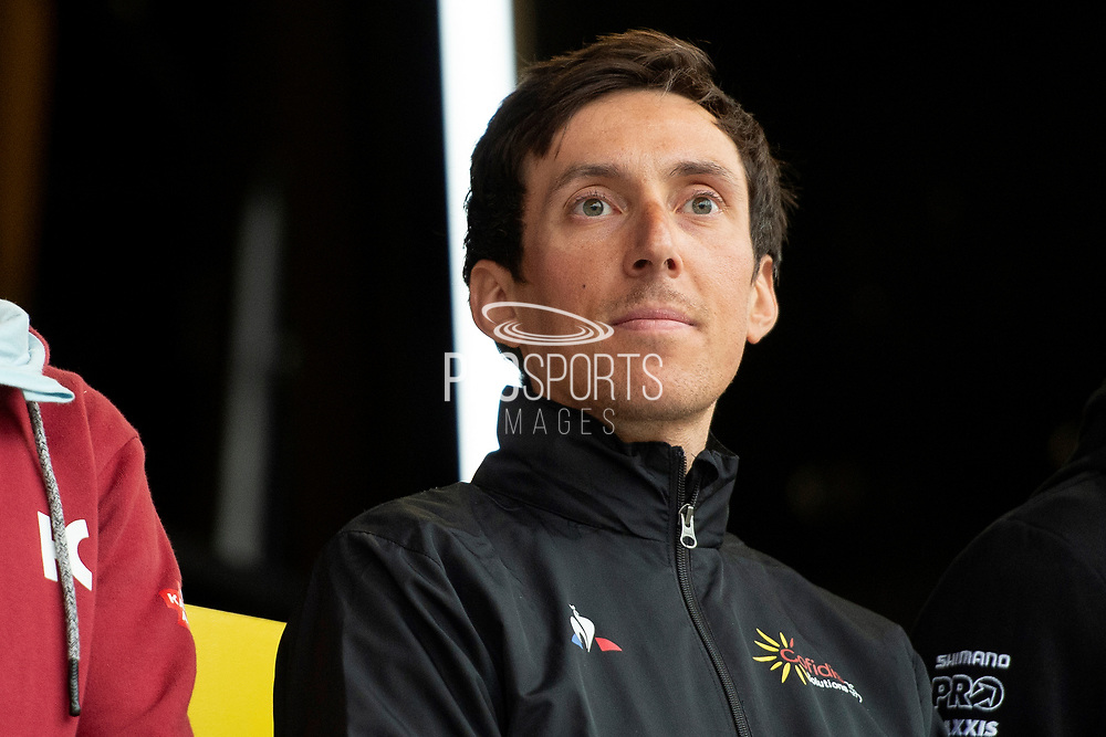 Stephane Rossetto of Team COFIDIS on stage during the Eve of Tour celebrations in Millennium square,Leeds, United Kingdom on 1 May 2019.