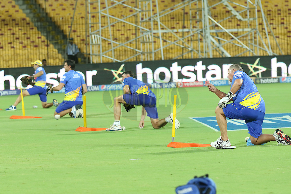 CSK team at practise during match 43 of the Pepsi IPL 2015 (Indian Premier League) between The Chennai Superkings and The Mumbai Indians held at the M. A. Chidambaram Stadium, Chennai Stadium in Chennai, India on the 8th May April 2015.<br /> <br /> Photo by:  Saikat Das / SPORTZPICS / IPL