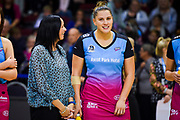 Steel's Coach, Reinga Bloxom & Te Huinga Reo Selby-Rickit after Steel Vs Mystics, ANZ Premiership, ILT Stadium, Invercargill, New Zealand.  Super Sunday, 5 May 2019.  © Copyright Photo:  Clare Toia-Bailey / www.photosport.nz