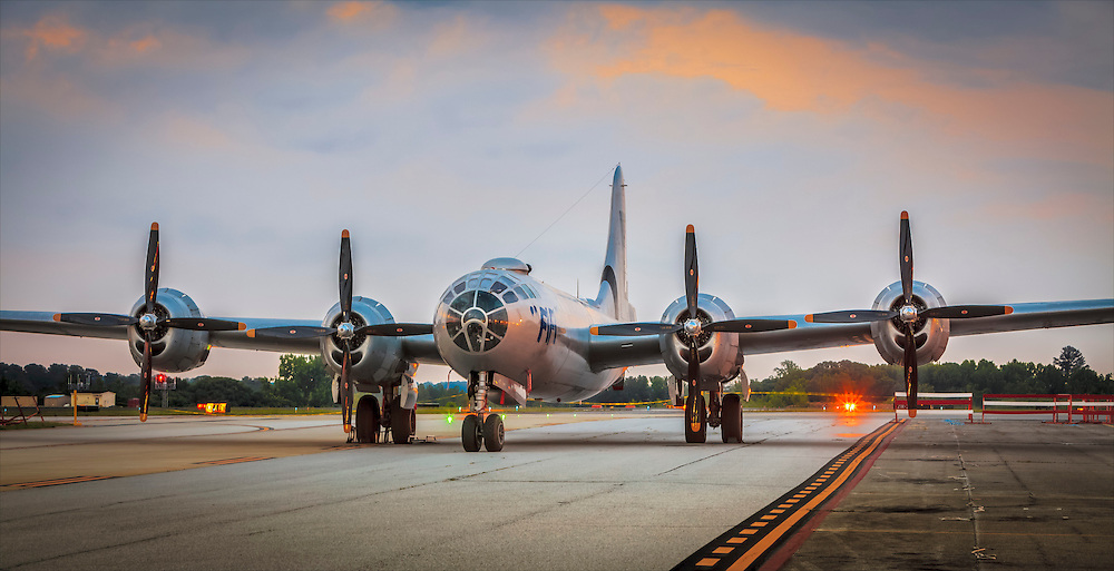 "The Commemorative Air Forces's B-29 ""Fifi"" at Atlanta's DeKalb Peachtree Airport (PDK), photographed at dawn."