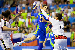 Domen Makuc of Slovenia and Diogo Silva of Portugal during handball match between National teams of Portugal and Slovenia in Semifinal of 2018 EHF U20 Men's European Championship, on July 27, 2018 in Arena Zlatorog, Celje, Slovenia. Photo by Urban Urbanc / Sportida
