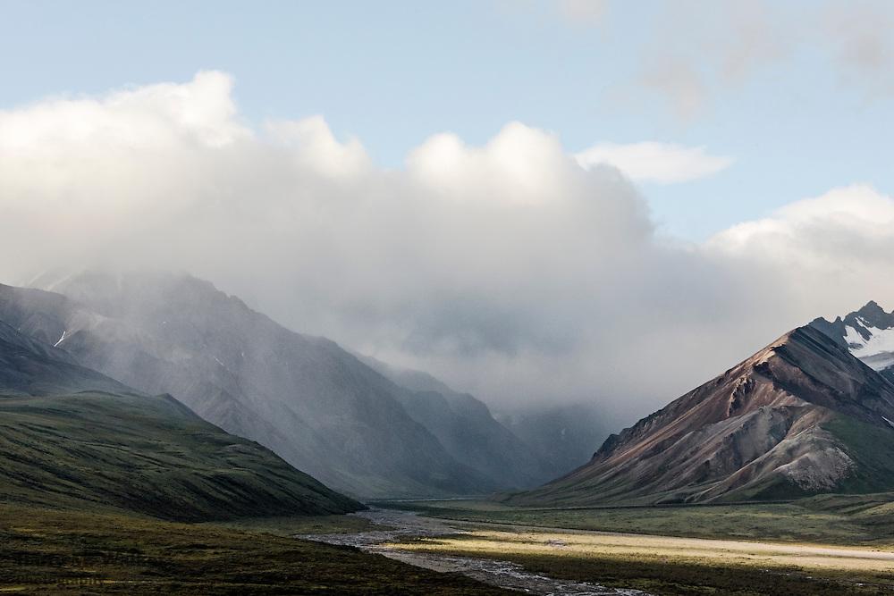 Rain crosses front range of the Alaska Range from Denali Park Road; Denali National Park; Alaska