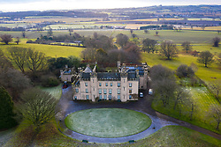 Aerial view The House of Binns, West Lothian, home of the Dalyell family,  owned by National Trust for Scotland. Scotland, UK.