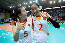 China Shen Jingsi and China Zhu Ting celebrate and joke after the match