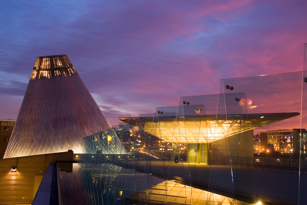 "Museum of Glass at sunset, with cone of ""hot shop"" and reflecting pool, Tacoma, WA, USA"