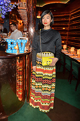 MIMI XU at a dinner hosted by Roger Vivier to celebrate The Prismick Denim by Camillle Seydoux held at Casa Cruz, 123 Clarendon Road, London on 17th March 2016.