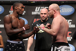 Nov 19; Auburn Hills, MI, USA;  Phil Davis and Tim Boetsch pose after weighing in for their upcoming bout at UFC 123 in Auburn Hills, Michigan.