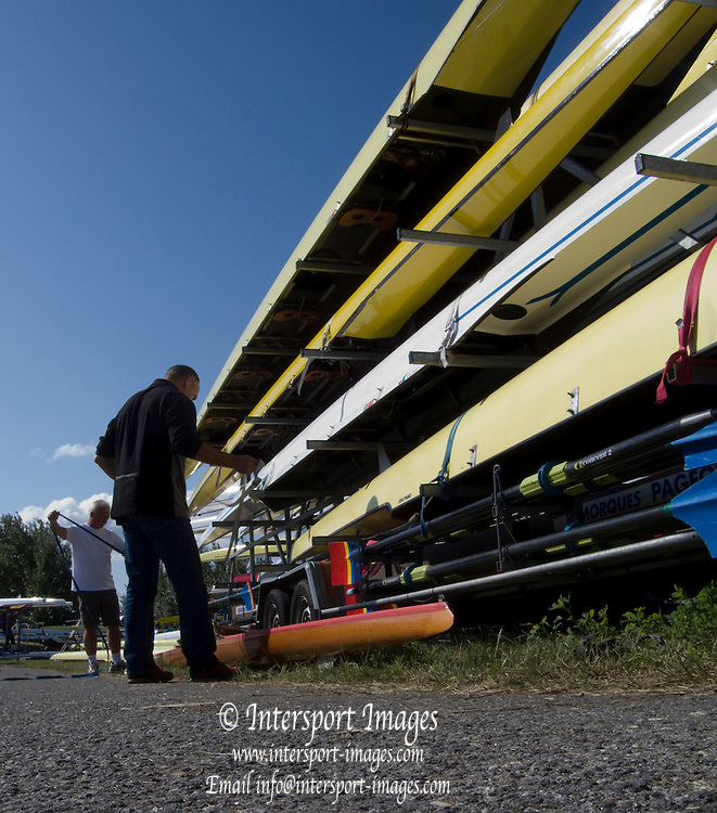 Vienna, AUSTRIA.  General view as the boats are loaded to be transported home after the regatta. 2009 FISA World Rowing Masters Championships, on the New Danube Rowing Course  Sunday  06/09/2009  [Mandatory Credit. Peter Spurrier/Intersport Images] . YOB Year of birth.