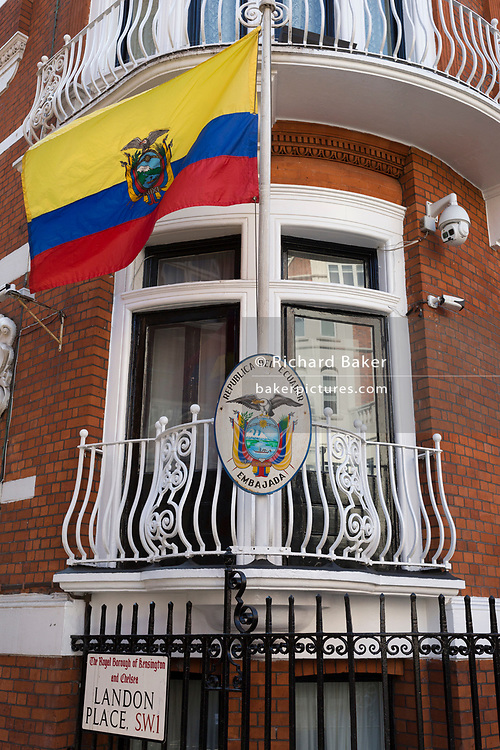Hours after the Wikileaks co-founder Julian Assange was forcibly removed from the Ecuadorian embassy by British police, after his 7-year occupancy, the exterior of the embassy in Knightsbridge, on 11th April 2019, in London England.