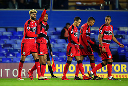 Steve Mounie of Huddersfield Town celebrates with teammates after scoring a goal to make it 2-1 - Mandatory by-line: Robbie Stephenson/JMP - 06/02/2018 - FOOTBALL - St Andrew's Stadium - Birmingham, England - Birmingham City v Huddersfield Town - Emirates FA Cup fourth round proper