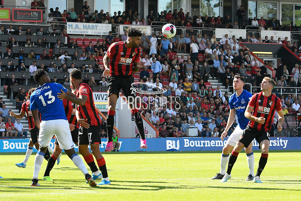 Philip Billing (29) of AFC Bournemouth heads the ball clear during the Premier League match between Bournemouth and Everton at the Vitality Stadium, Bournemouth, England on 15 September 2019.