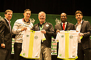 01/07/2018. Orlando, USA.  <br /> Press event to launch the 2018 Florida Cup.<br /> <br /> Orlando Mayor Buddy Dyer with Jackson Follman, whos team died in a plane crash in Brazil ahead of a game he was the only survivor. pictured withother reps of Orlando. <br /> <br /> At  Universal Resort, Orlando.<br /> Pic: Mark Davison /PLPA