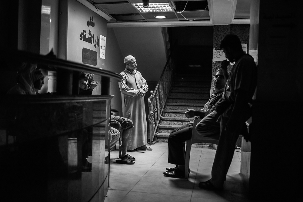Aleppo, Syria, 2012/10/09.<br /> Inside Dar Al-Shifaa hospital, waiting for news about wounded relatives.