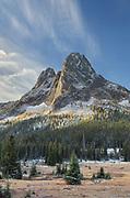 Liberty Bell Mountain and meadows of Washington Pass. North Cascades, Washington